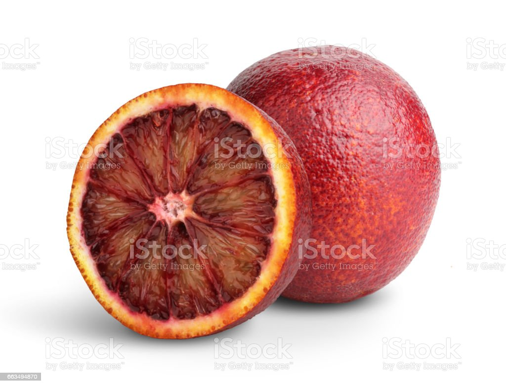 Cut Blood red orange fruit on white, clipping path stock photo