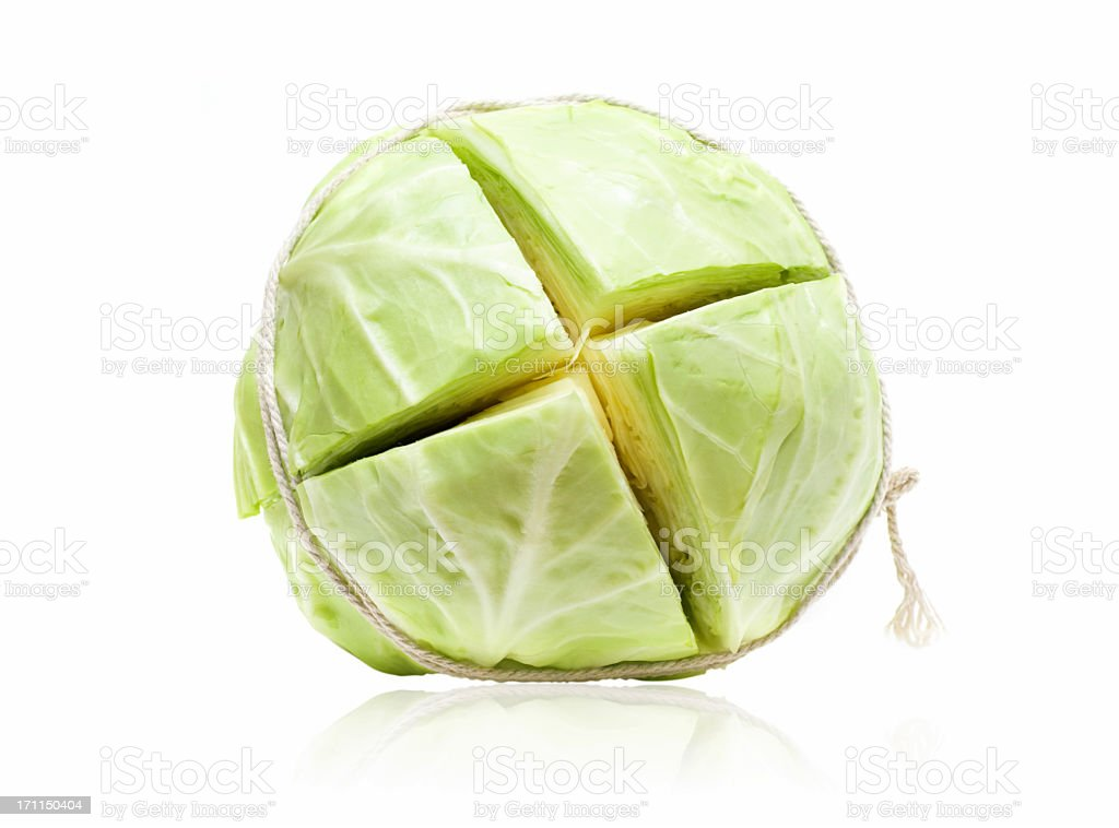 Cut Cabbage isolated on White background stock photo