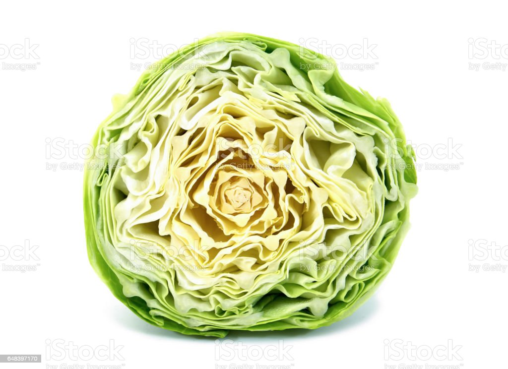 Cut cabbage on white background stock photo