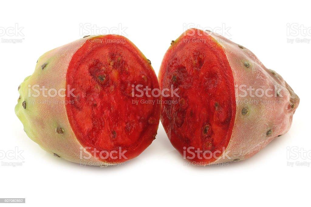 cut  cactus fruit stock photo