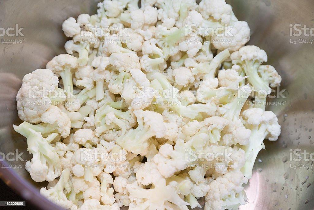 cut cauliflower stock photo