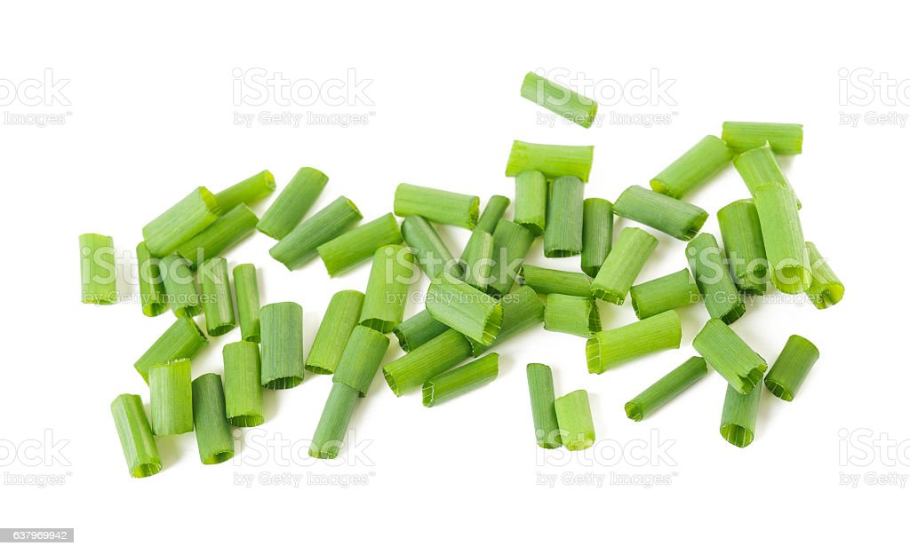 Cut chives isolated stock photo