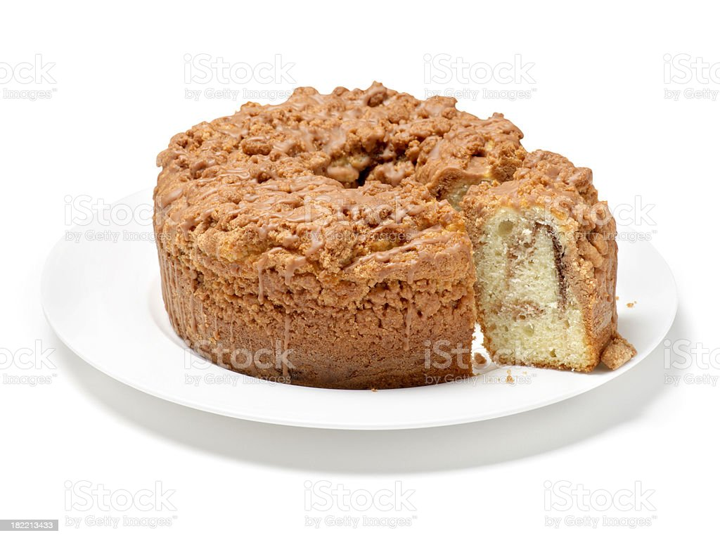 Cut Cinnamon Coffee Cake royalty-free stock photo