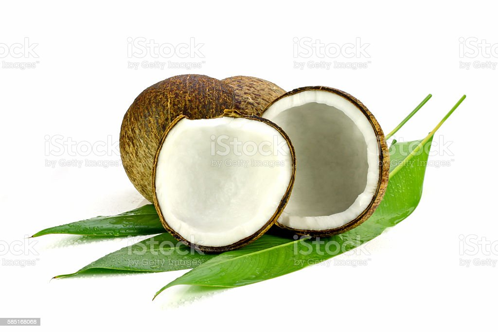 Cut coconut shell with fresh organic coconut kernel. stock photo