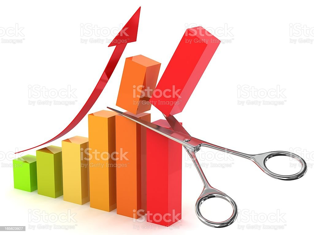 Cut Costs Graph stock photo