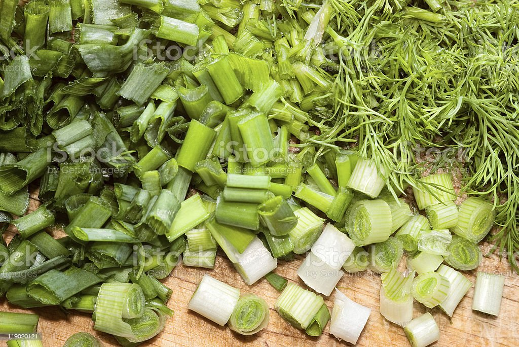 cut dill and green onion royalty-free stock photo
