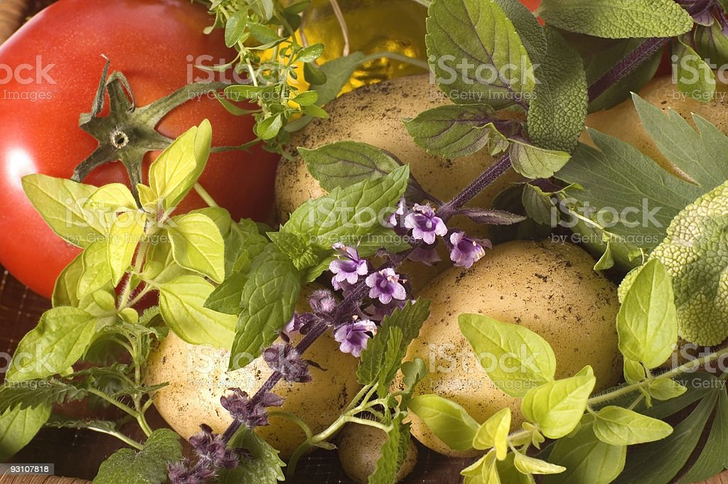 cut fresh herbs and vegetables royalty-free stock photo