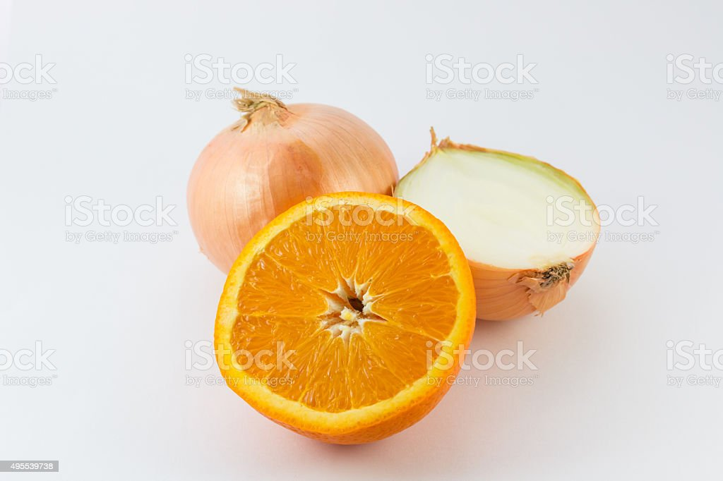Cut fresh of orange and onion. stock photo