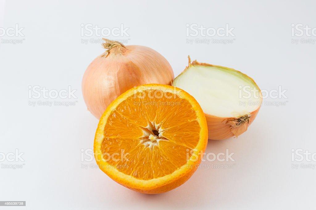 Cut fresh of orange and onion. stock photo