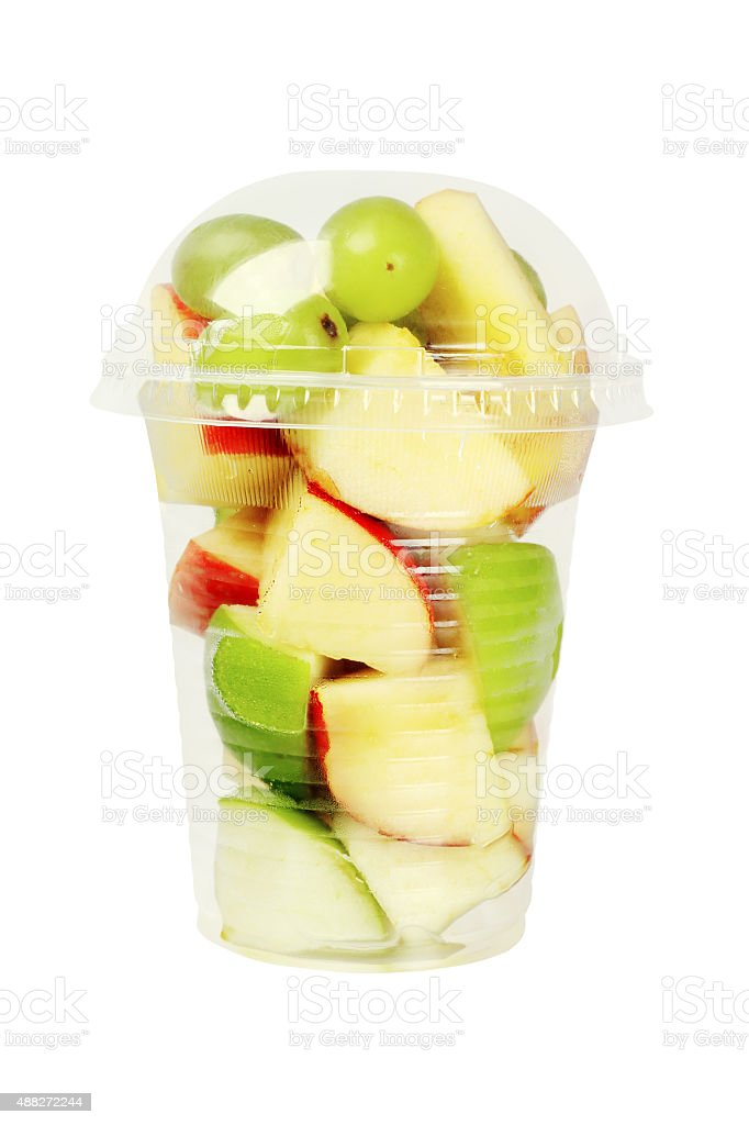 Cut Fruits in Plastic Cup stock photo