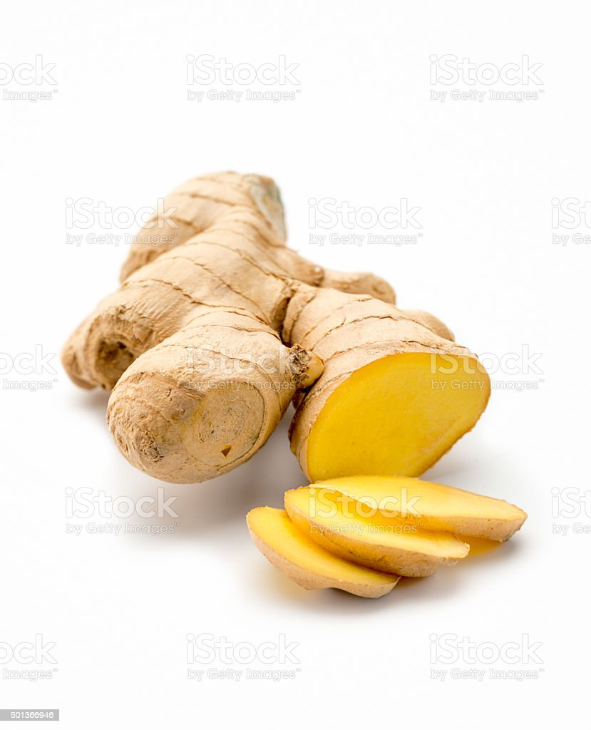 Cut Ginger root isolated on white background stock photo