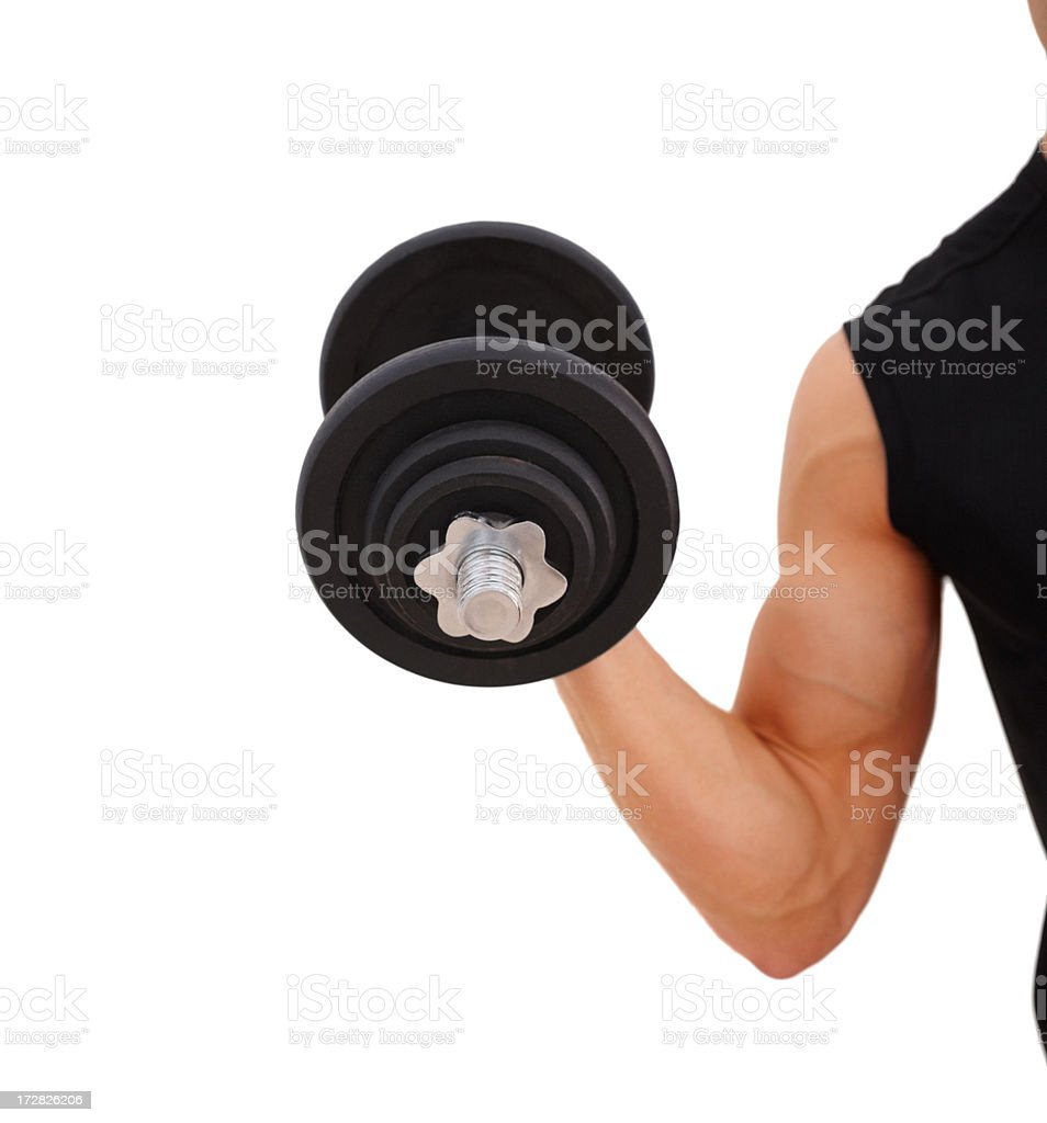 Cut image of a guy holding a dumbbell against white stock photo