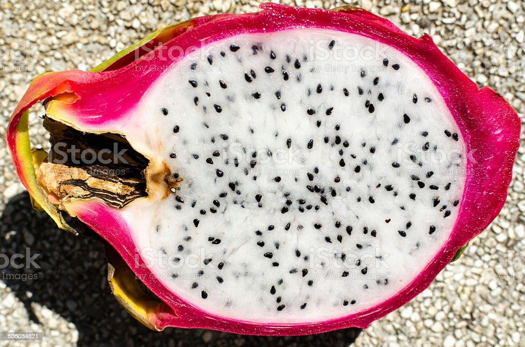 Cut in half Dragon Fruit stock photo