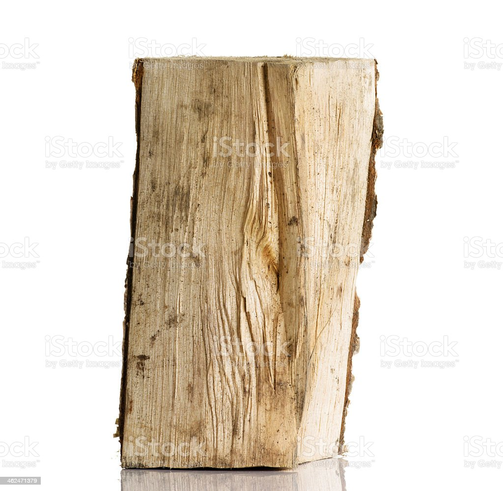 Cut log fire wood from birch-tree. stock photo