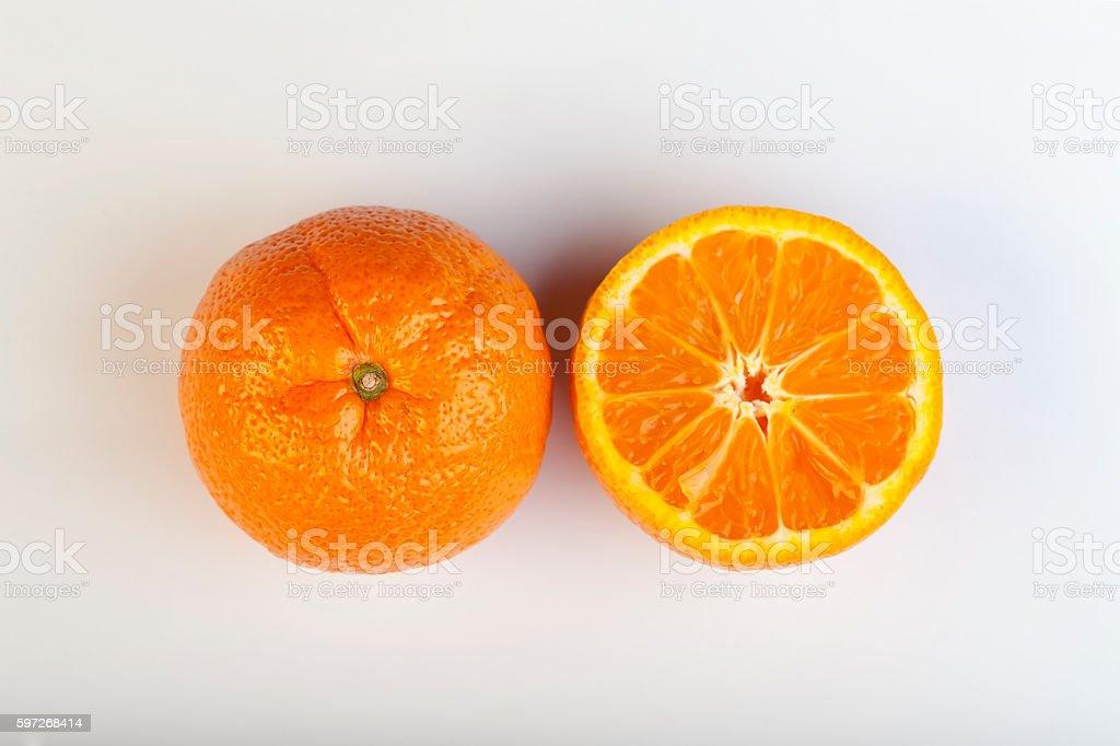 Cut Mandarin stock photo