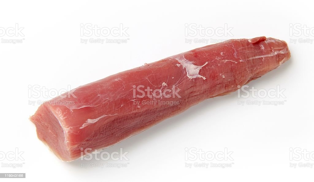 Cut of raw pork tenderloin isolated on a white background stock photo