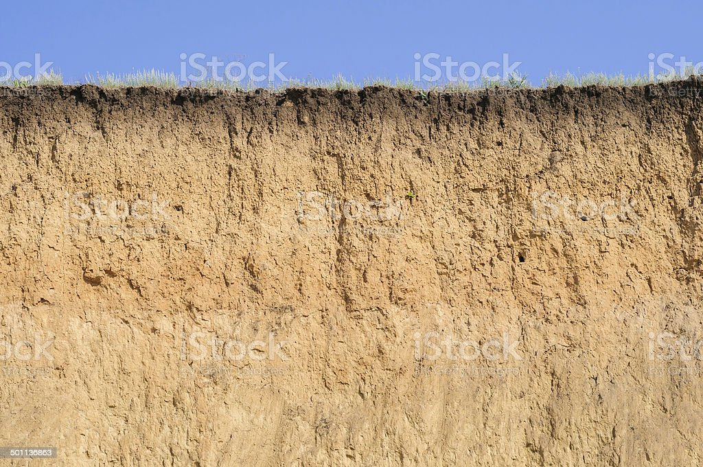 Cut of soil with different layers, grass and sky stock photo