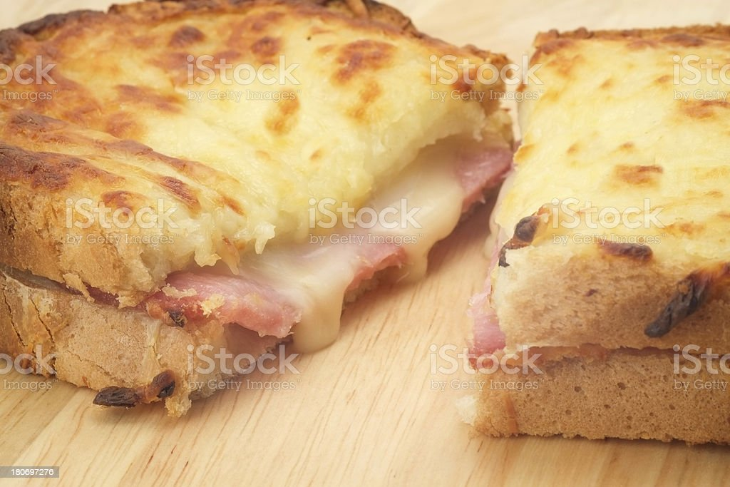 Cut open toasted Croque Monsieur sandwich stock photo