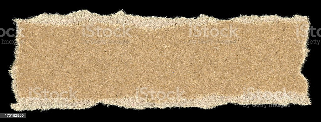 Cut or torn brown paper label stock photo