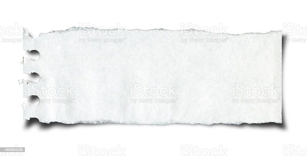Cut or torn paper background texture isolated on white stock photo