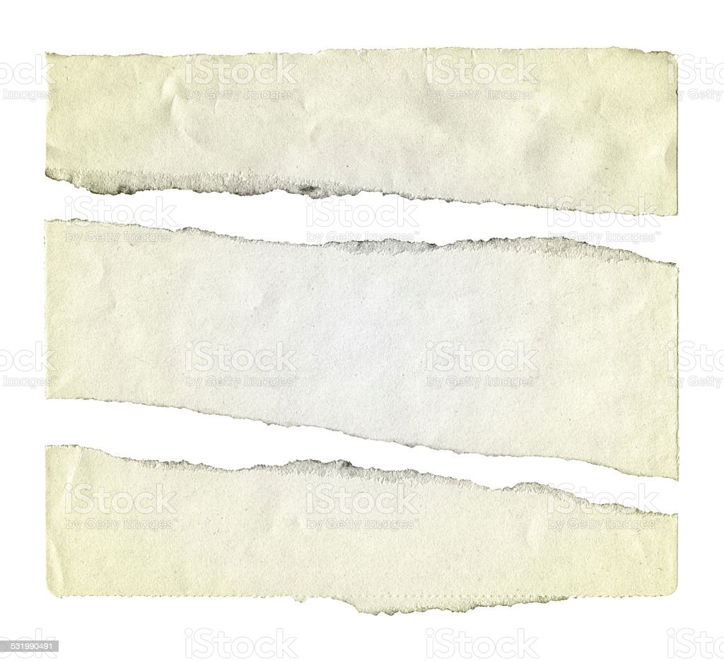 Cut Or Torn Paper background textured isolated on white stock photo