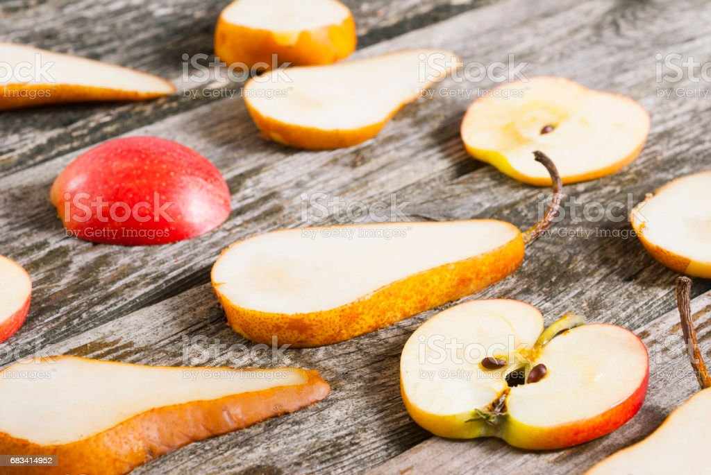 Cut out apple and pear stock photo