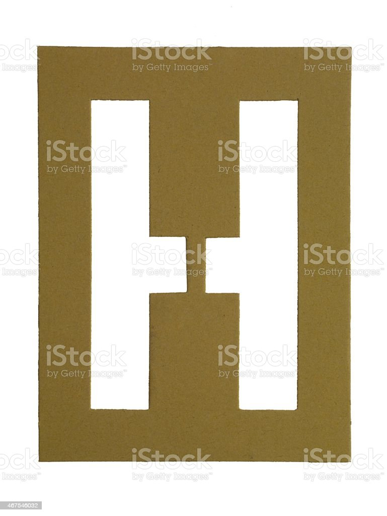 cut out cardboard letter h stock photo