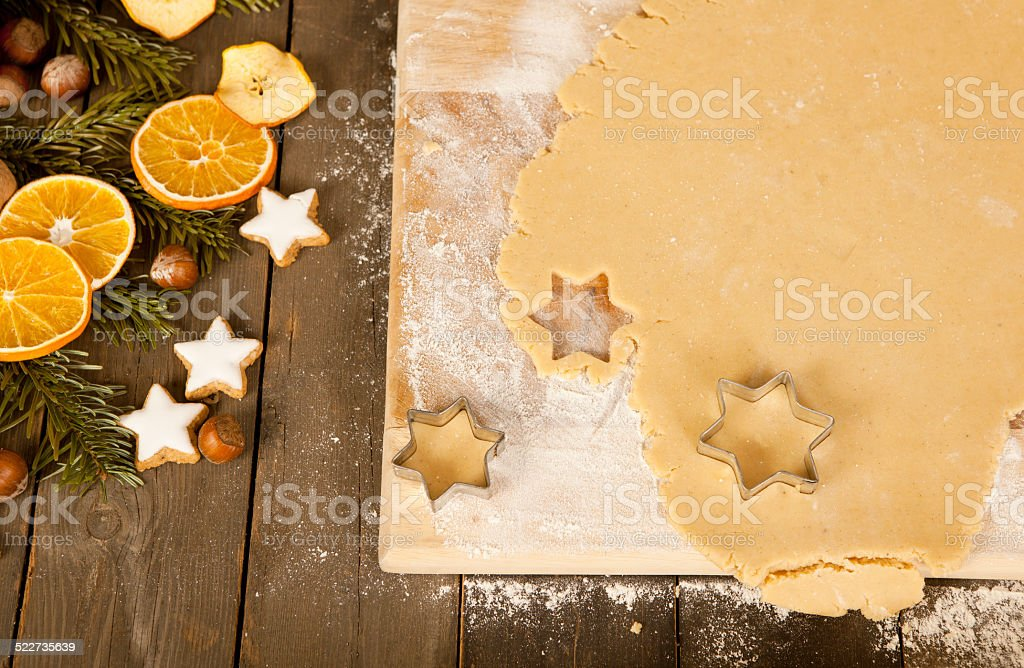 Cut out christmas cookies stars stock photo