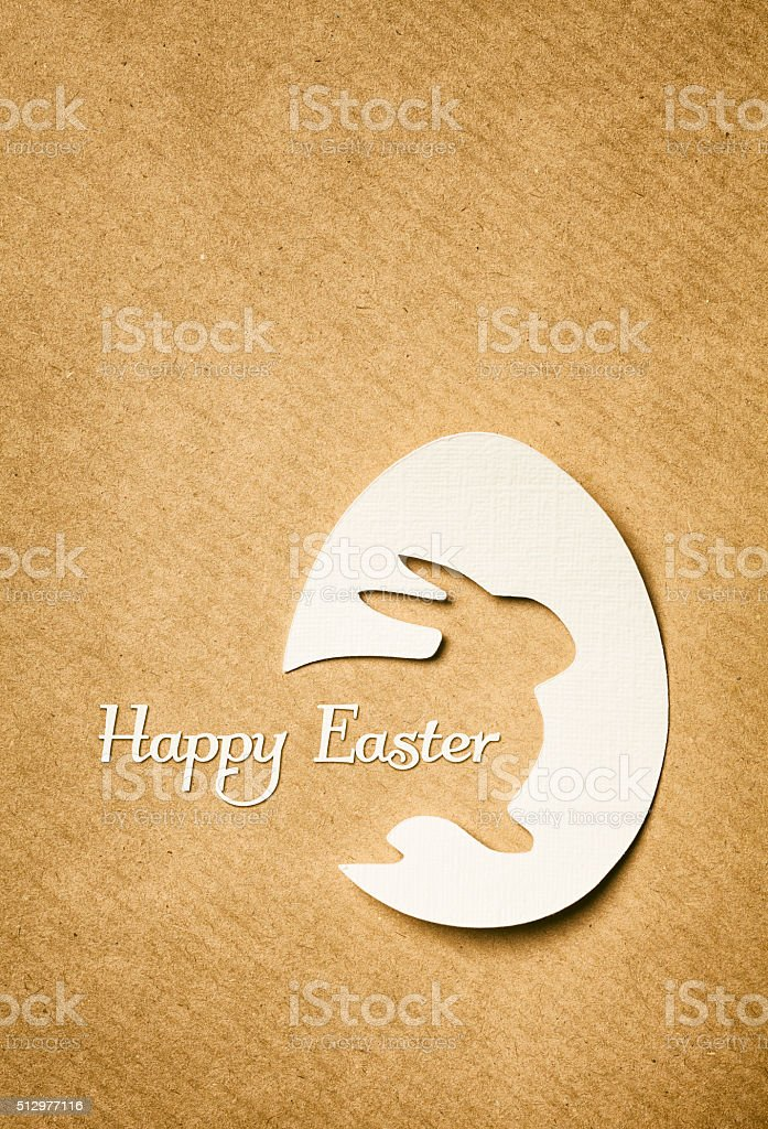 Cut out easter bunny egg greeting card stock photo