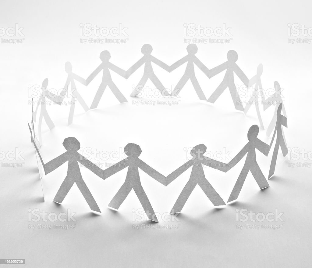 cut out paper people stock photo