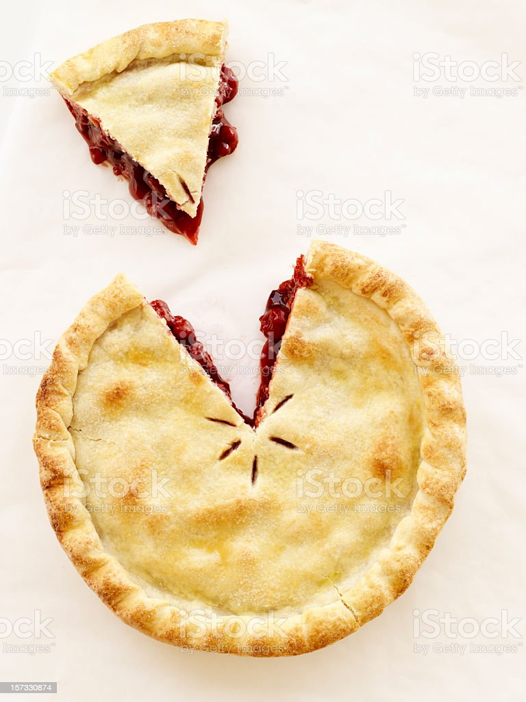 Cut out piece of cherry pie on white background stock photo