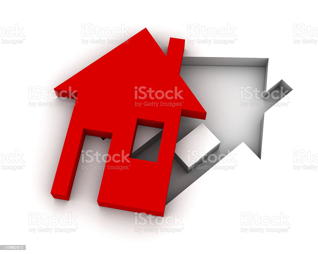 Cut out red house royalty-free stock photo