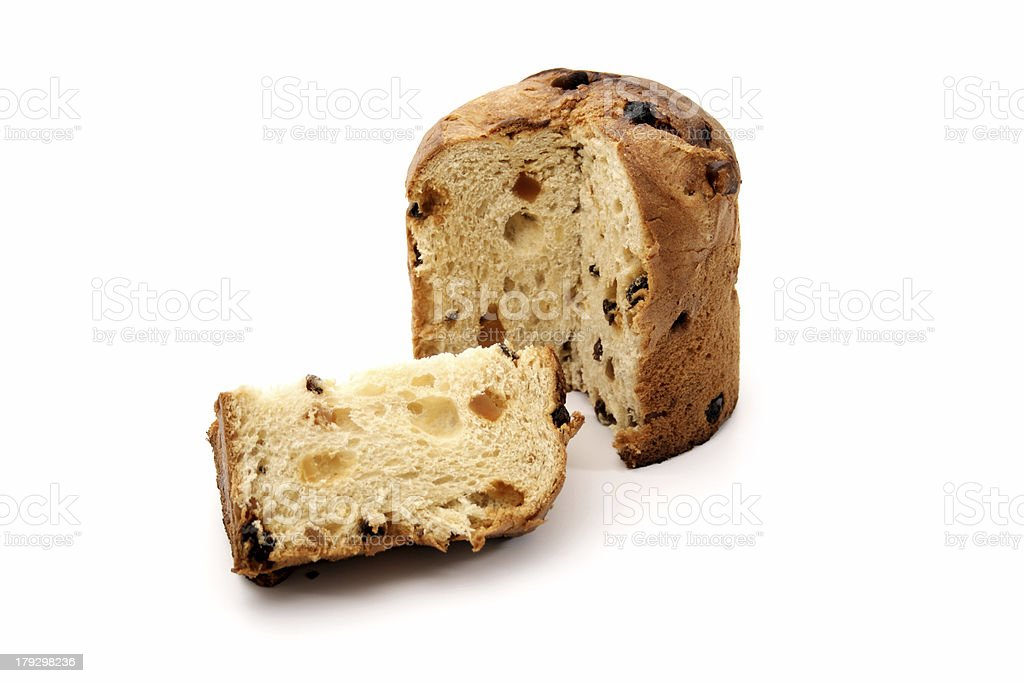 Cut panettone royalty-free stock photo