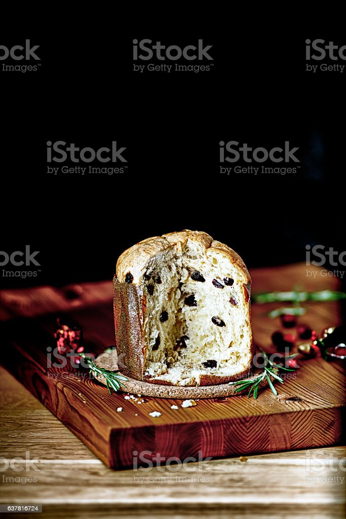 Cut Pannetone bread ready to be served for Christmas stock photo