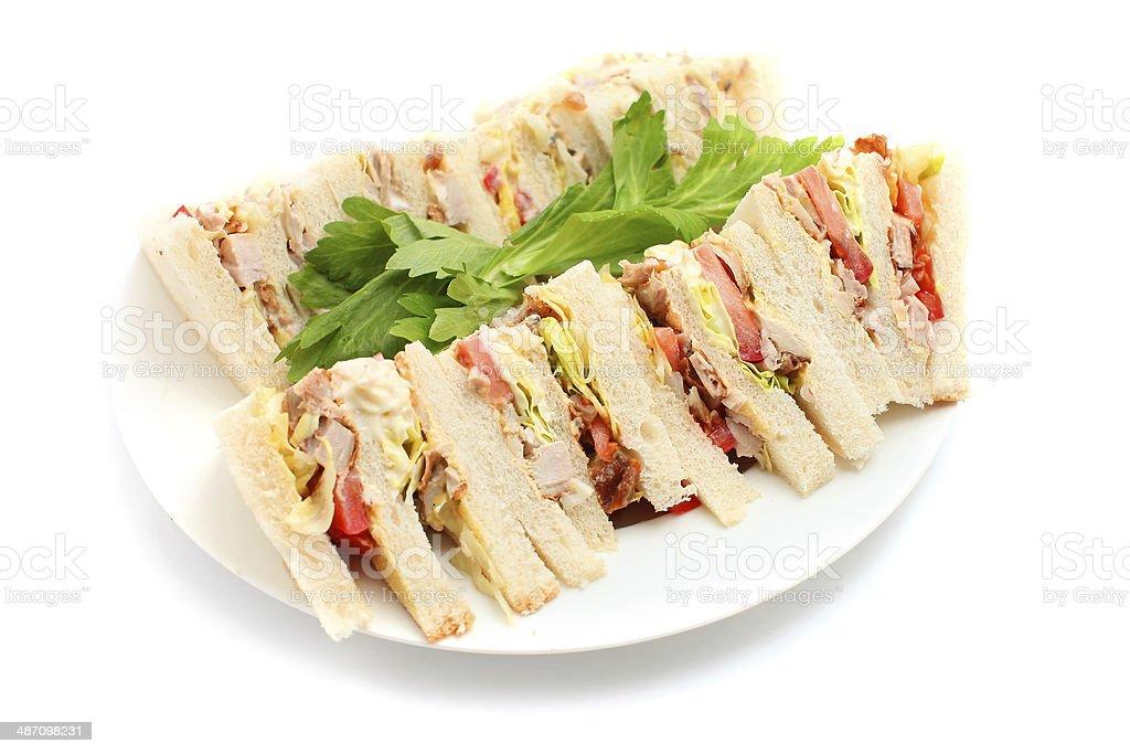 Cut platter of mixed sandwich stock photo