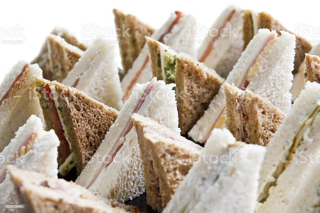 Cut platter of mixed  sandwich triangles royalty-free stock photo