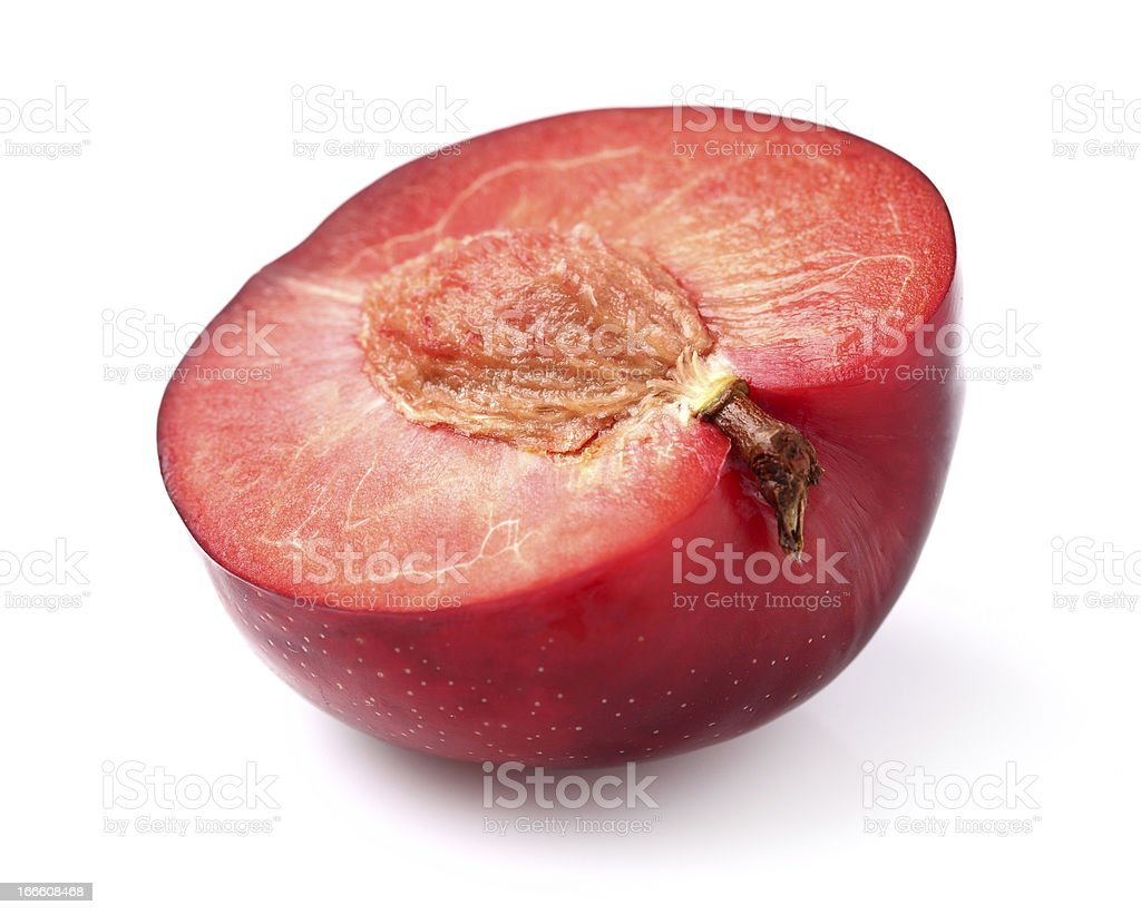 Cut red plum royalty-free stock photo