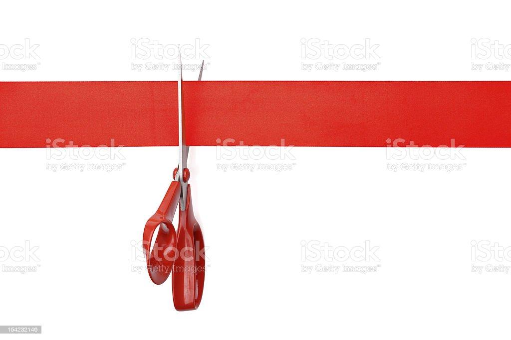 Cut red ribbon stock photo