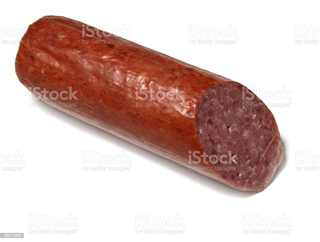 Cut sausage isolated on white royalty-free stock photo