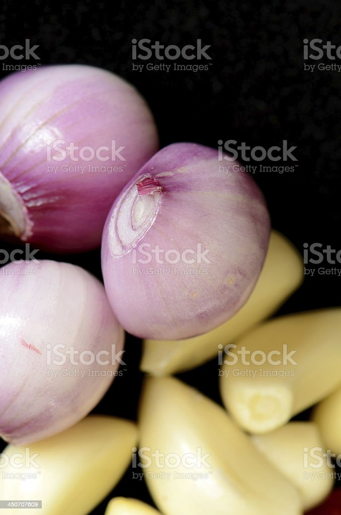 Cut Shallot and garlic. royalty-free stock photo