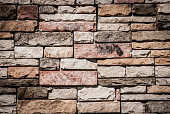 Cut Stone Wall, Textured Architectural Background, Brown,  XXXL