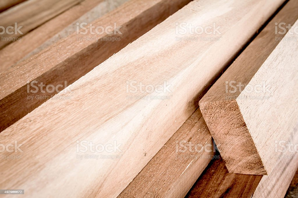 Cut timber or sawed timber prepare for the construction stock photo