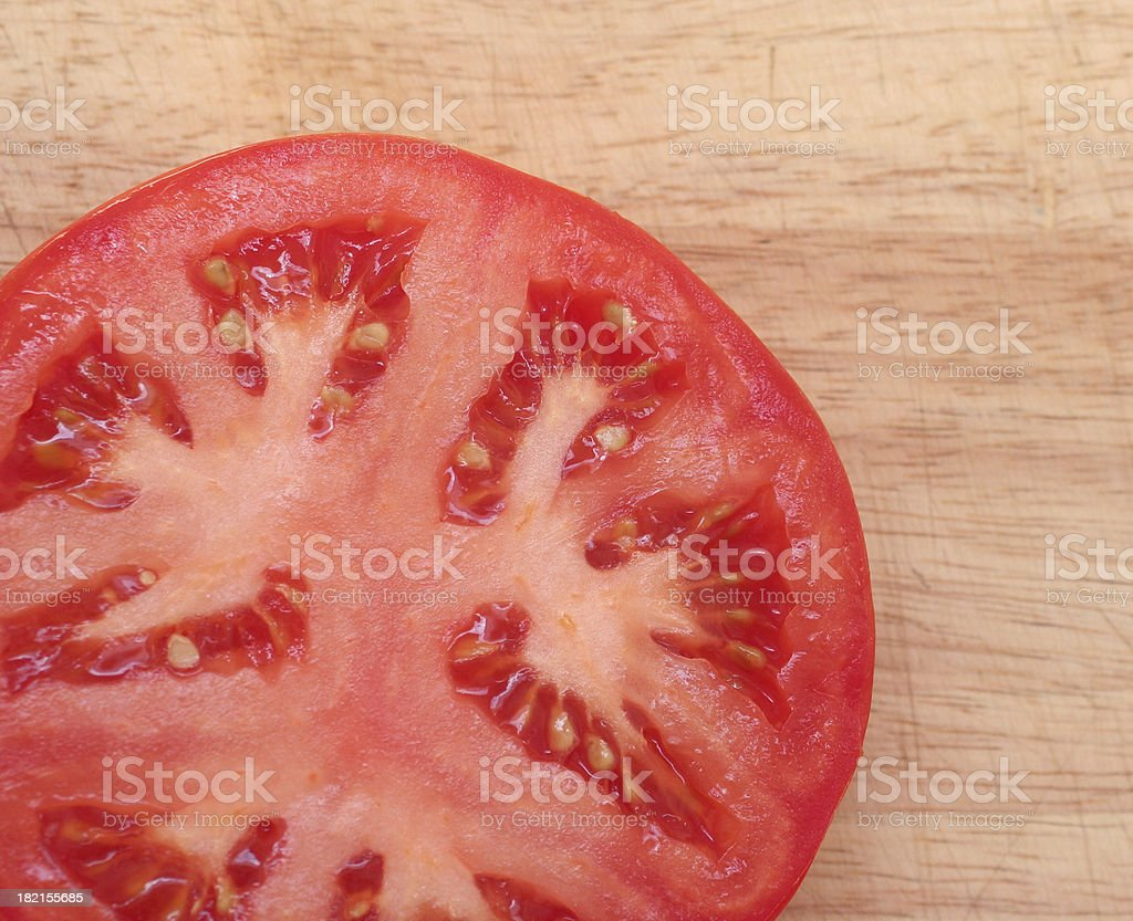 cut tomato in the corner royalty-free stock photo