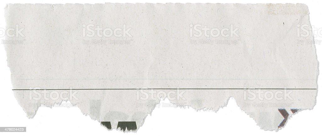 Cut, Torn Piece of Newspaper stock photo