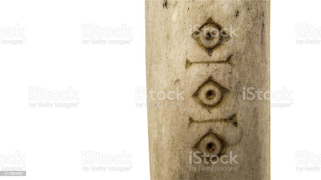 Cut whale bone art from Greenland stock photo