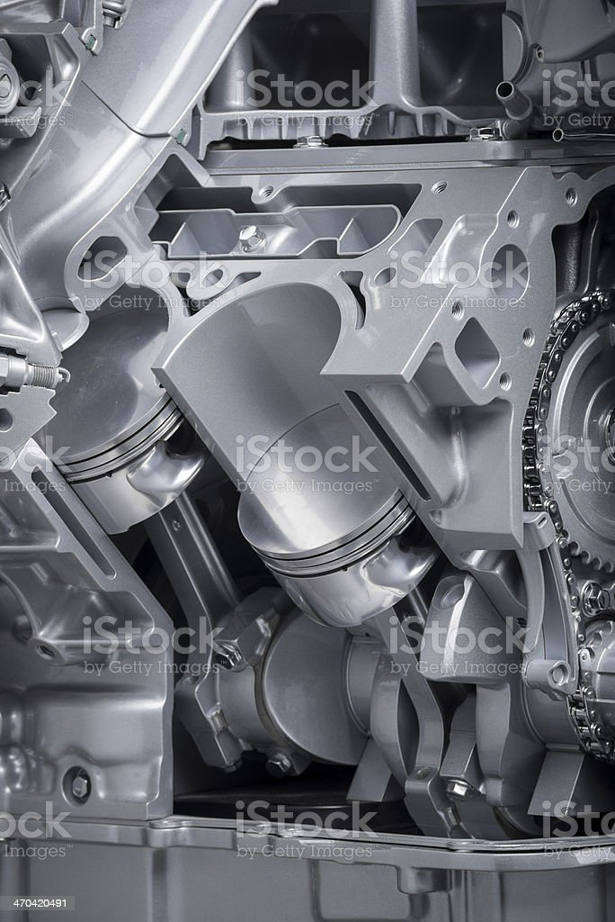 Cutaway view of a V-8 Engine cylinder stock photo