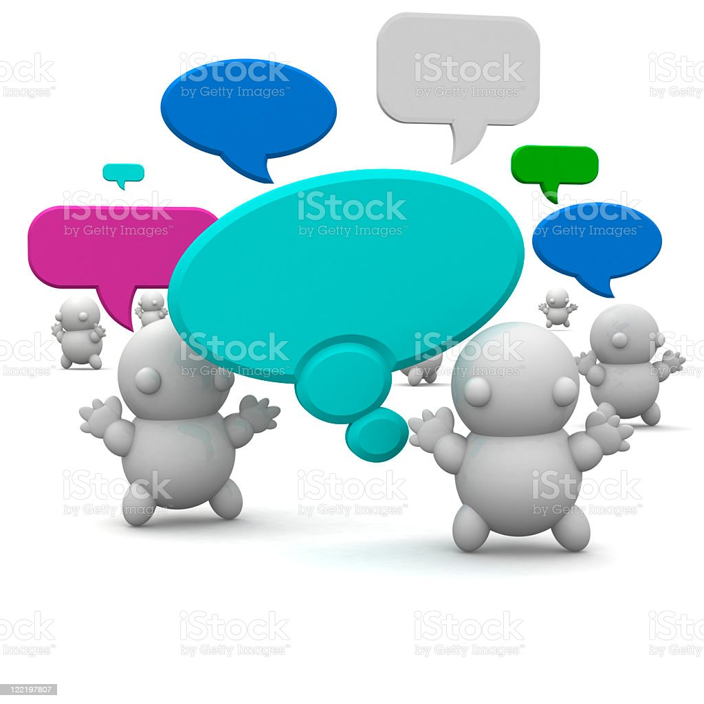 Cute 3d people with speech bubbles royalty-free stock photo