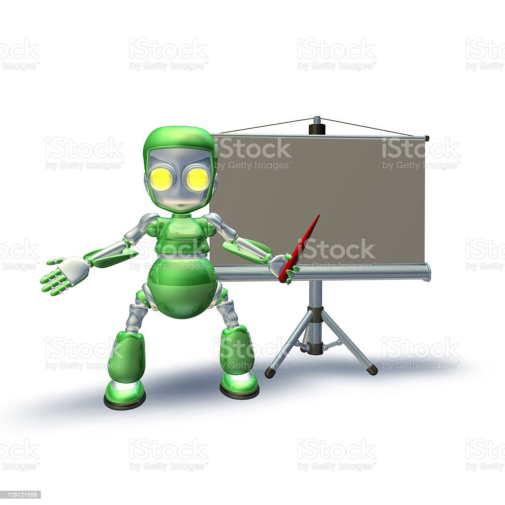 Cute 3d robot character giving presentation royalty-free stock photo