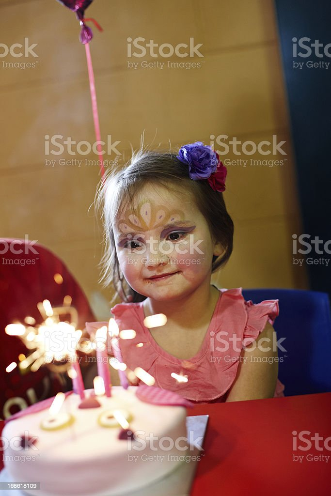 Cute 5 year old girl painted face royalty-free stock photo