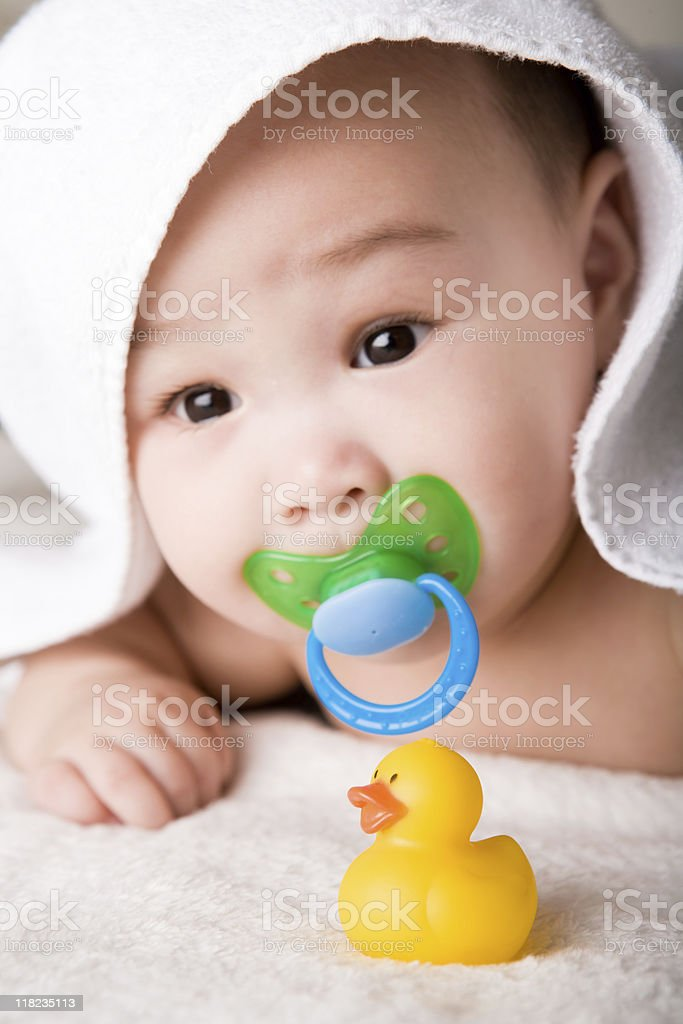 Cute 6 months of boy stock photo